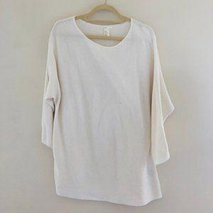 H&M Ivory 3/4 Sleeve Sweater Medium E42